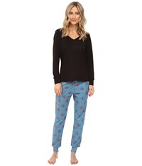 Bedhead French Terry Long Sleeve Hoodie And Jogger Pants Set Blue Road To Morocco Women's Pajama Sets