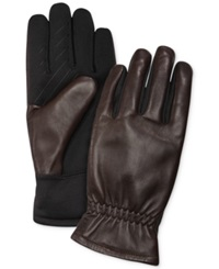 Fownes Ur Gloves Gathered Leather Back Stretch Tech Palm Gloves Brown