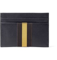Dries Van Noten Webbing Trimmed Pebble Grain Leather Cardholder Midnight Blue