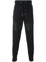 Philipp Plein Ribbed Panel Track Pants Black