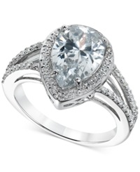 B. Brilliant Cubic Zirconia Statement Ring In Sterling Silver