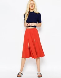 Asos Midi Skirt With Splices Burnt Orange