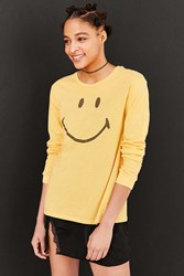 Urban Outfitters Smiley Face Long Sleeve Tee Yellow