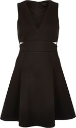 River Island Womens Black Plunge Cut Out Skater Dress