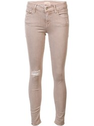 Mother Distressed Skinny Jeans Nude Neutrals