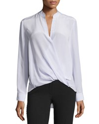 3.1 Phillip Lim Long Sleeve Silk Surplice Blouse Lavender