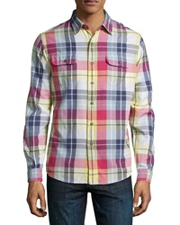 Tailor Vintage Plaid Woven Sport Shirt Autumn Leaves Bleed
