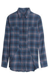 Rta Denim Checked Shirt Blue