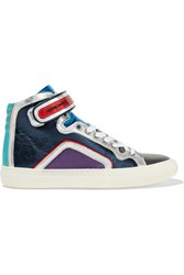 Pierre Hardy Metallic Color Block Leather High Top Sneakers Blue