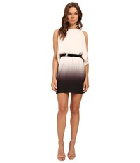 Halston Short Sleeve Round Neck Ombre Dress With Cold Shoulder Belt Oyster Black Tonal Ombre Print Women's Dress White