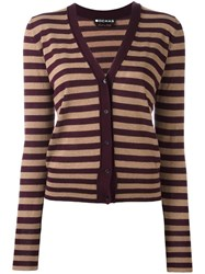 Rochas Striped Long Sleeve Cardigan Brown