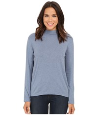 Pendleton L S Mock Neck Cotton Rib Tee Faded Indigo Heather Women's Long Sleeve Pullover Blue