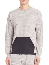 Madison Supply Long Sleeve Colorblock Kangaroo Pocket Tee Heather Grey
