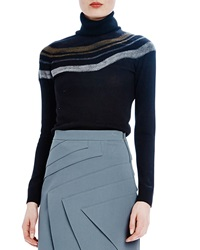 Raoul Needle Punch Turtleneck With Stripes Onyx