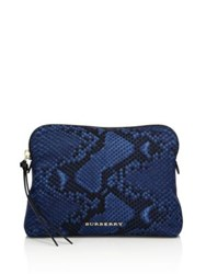 Burberry Large Python Print Technical Nylon Pouch Mineral Blue
