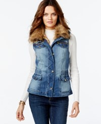 Inc International Concepts Convertible Faux Fur Trim Denim Vest Only At Macy's Indigo