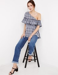 Pixie Market Grid Asymmetric Ruffled One Shoulder Top By New Revival