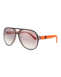 Gucci Plastic Aviator Sunglasses Gray White Brick