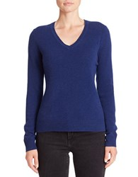 Lord And Taylor V Neck Cashmere Sweater Navy Night