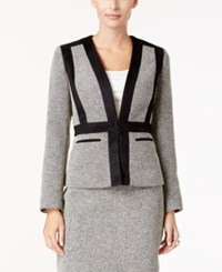 Kasper Faux Suede Trim Tweed Blazer Heather Gray