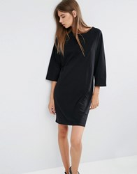 Asos Cotton T Shirt Dress With Raglan Sleeve And Boat Neck Black