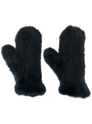 Yves Salomon Mink Fur Mittens Blue
