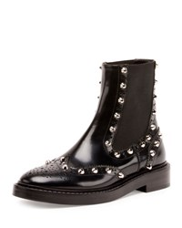 Balenciaga Studded Chelsea Brogue Boot Black Noir