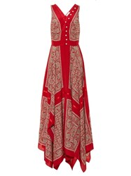 Altuzarra Clemmie Silk Habotai Paisley Print Dress Red Print