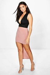 Boohoo High Low Soft Touch Maxi Skirt Antique Rose