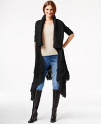 Dknyc Shawl Collar Fringed Sweater Vest Black