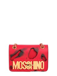 Moschino Small Logo Lettering Burned Leather Bag