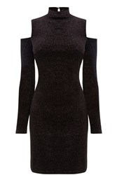 Oasis Velvet Cut Out Shoulder Dress Black