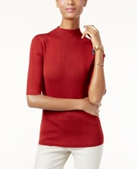 Inc International Concepts Mock Turtleneck Ribbed Sweater Only At Macy's Burnt Pepper