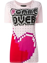 Philipp Plein 'Game Over' T Shirt Pink And Purple