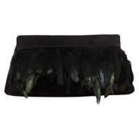 Coast Manx Feather Clutch Bag Black