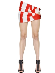 Anthony Vaccarello Printed Crepe Skirt With Metal Buckles White Red
