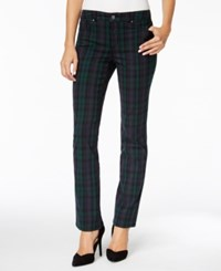 Charter Club Petite Lexington Plaid Straight Leg Jeans Only At Macy's Deep Black Combo