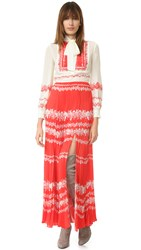 Self Portrait Long Sleeve Tie Neck Dress Cream Red