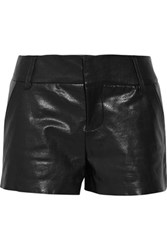 Alice Olivia Cady Leather Shorts Black
