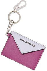 Karl Lagerfeld Textured Leather Keychain Violet