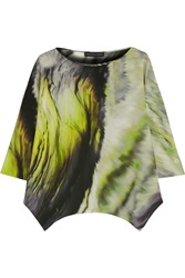 Maria Grachvogel Tempera Printed Silk Crepe De Chine Top Green
