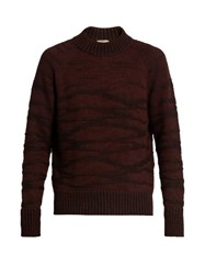 Bottega Veneta Degrade Wool Knit Sweater Burgundy Multi
