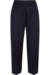 J.Crew Collection Cropped Wool Wide Leg Pants Blue
