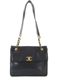 Chanel Vintage Cc Chain Shoulder Bag Black