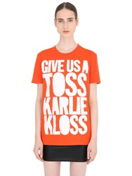 House Of Holland Karlie Kloss Cotton Jersey T Shirt