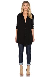 Heather Long Sleeve Trapeze Button Down Black