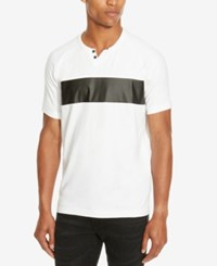 Kenneth Cole Reaction Men's Mixed Media Faux Leather Trim Henley White