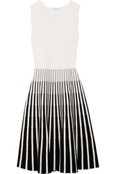 Tomas Maier Striped Intarsia Knitted Dress White
