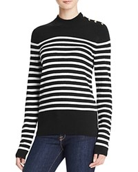 Aqua Cashmere Stripe Mock Neck Cashmere Sweater Black White