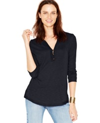 Lucky Brand Three Quarter Sleeve Crochet Trim Top Only At Macy's American Navy
